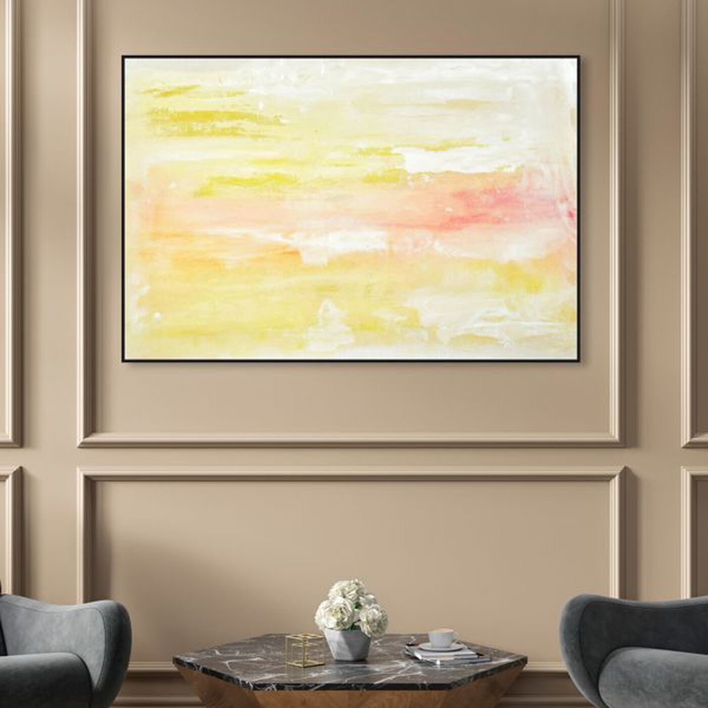 Hanging view of Peaceful Sunset featuring abstract and paint art.