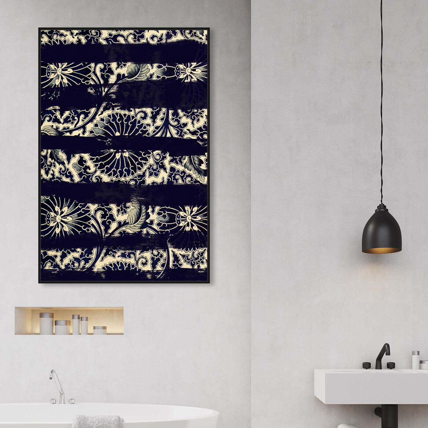 Hanging view of Vintage Strokes II featuring abstract and patterns art.