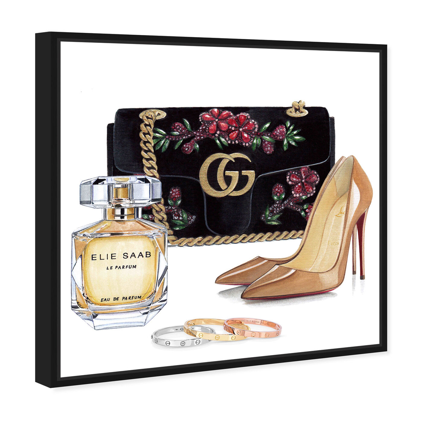 Angled view of Doll Memories - Perfume and Shoes featuring fashion and glam and handbags art.