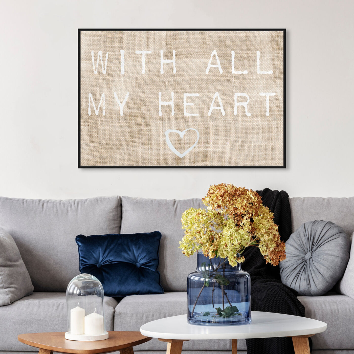 Hanging view of With All My Heart featuring typography and quotes and love quotes and sayings art.