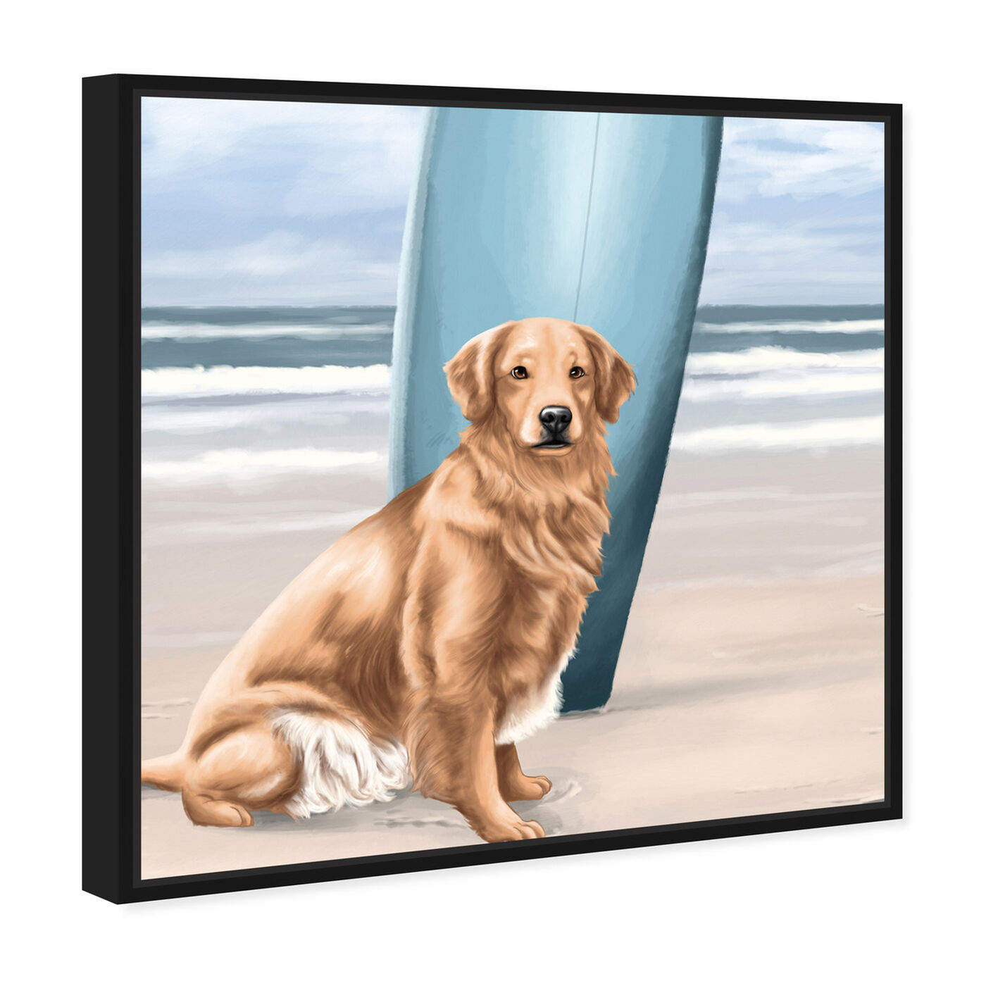 Angled view of Surfer Golden Retriever featuring animals and dogs and puppies art.