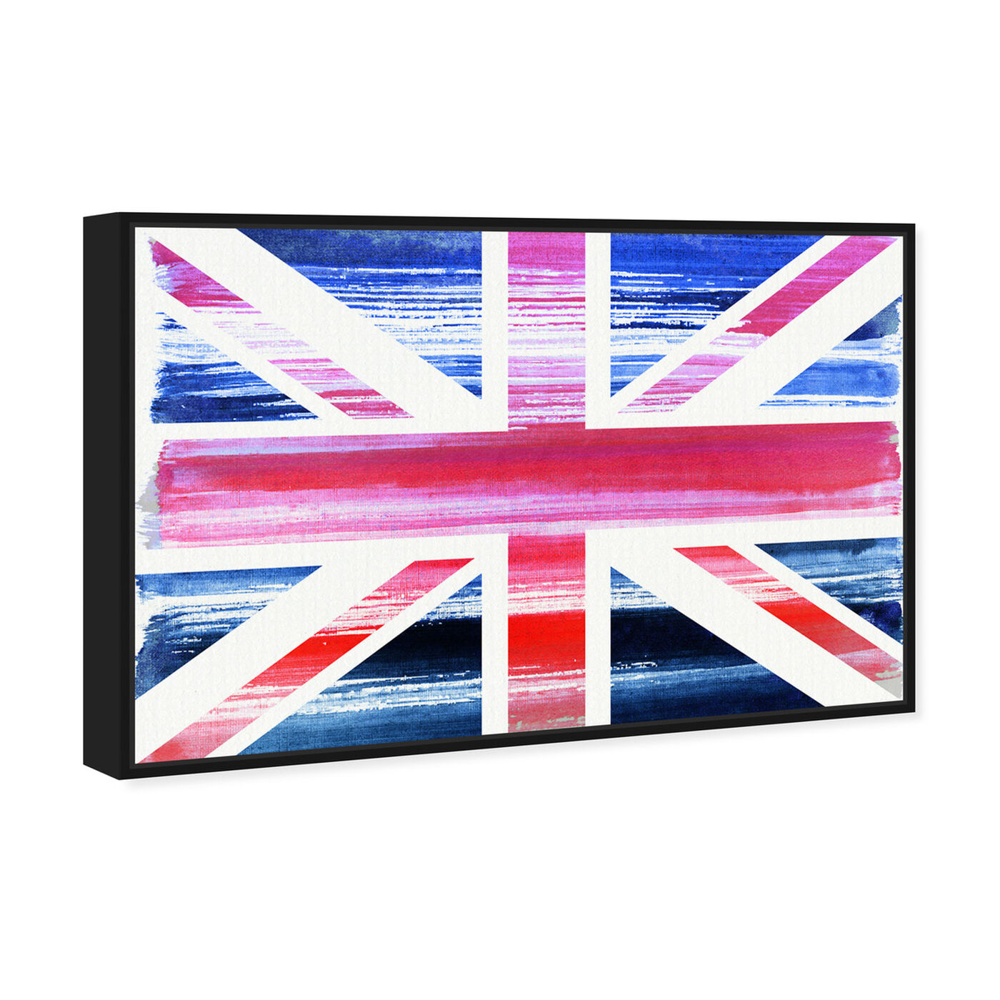 Angled view of Union Jack featuring maps and flags and european countries maps art.