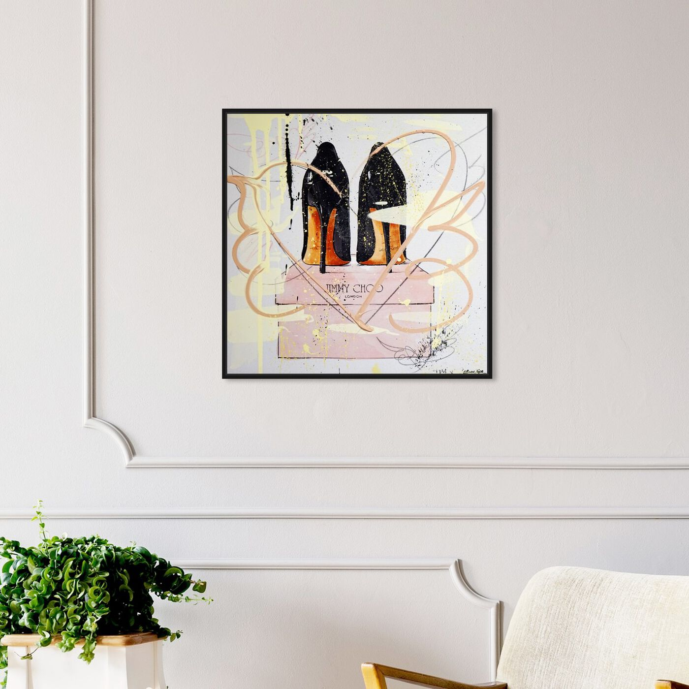 Hanging view of Night Out Stilettos Remix featuring fashion and glam and shoes art.