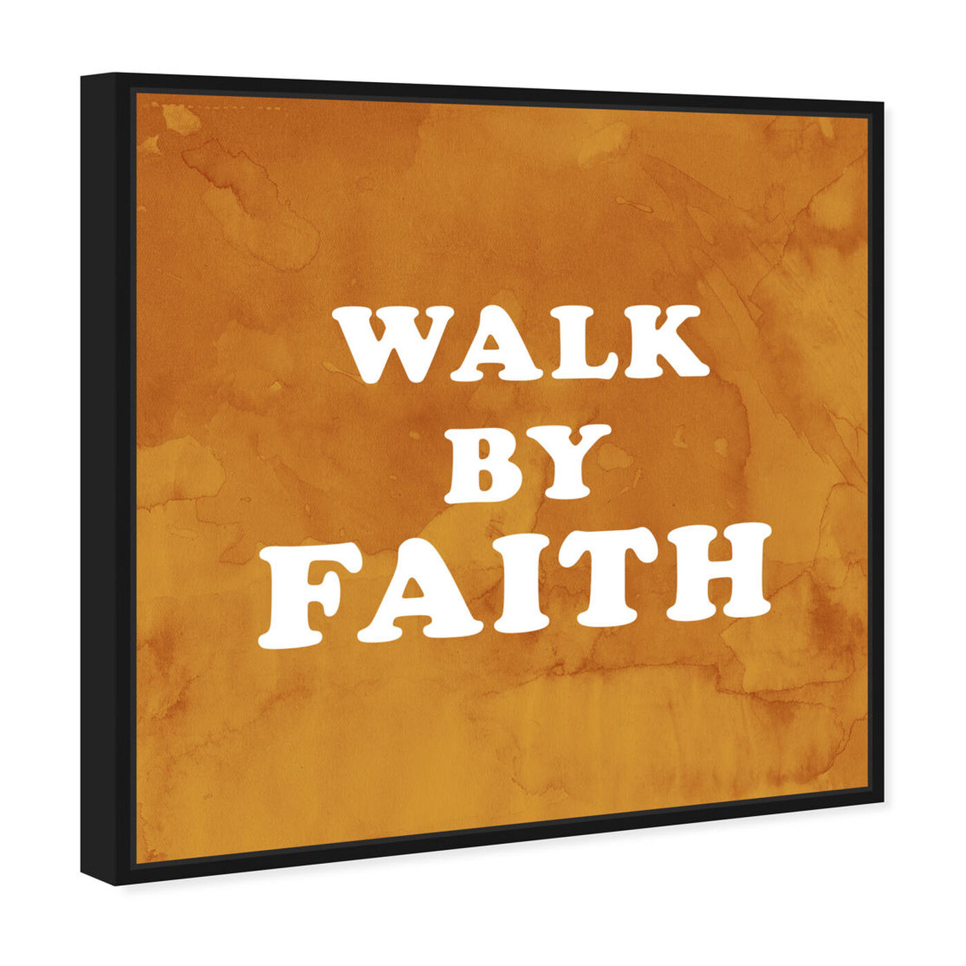 Angled view of Walk By Faith featuring typography and quotes and inspirational quotes and sayings art.