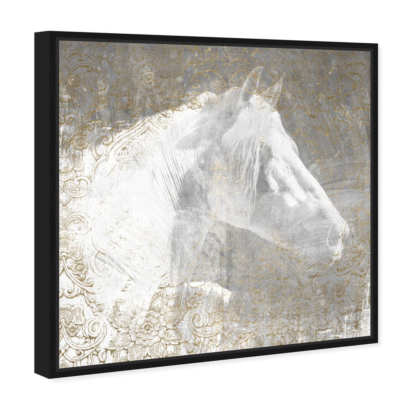 Angled view of Lone Blanc Horse featuring animals and farm animals art.