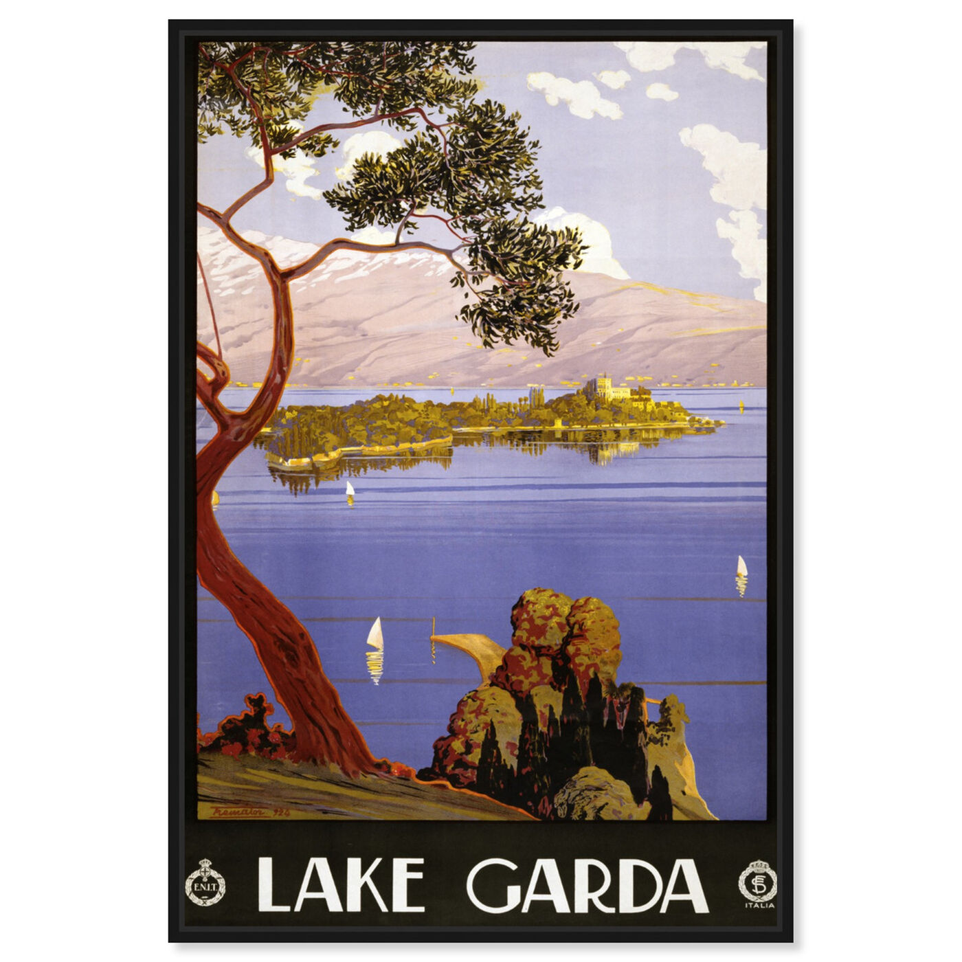 Front view of Lake Garda featuring nature and landscape and nature art.