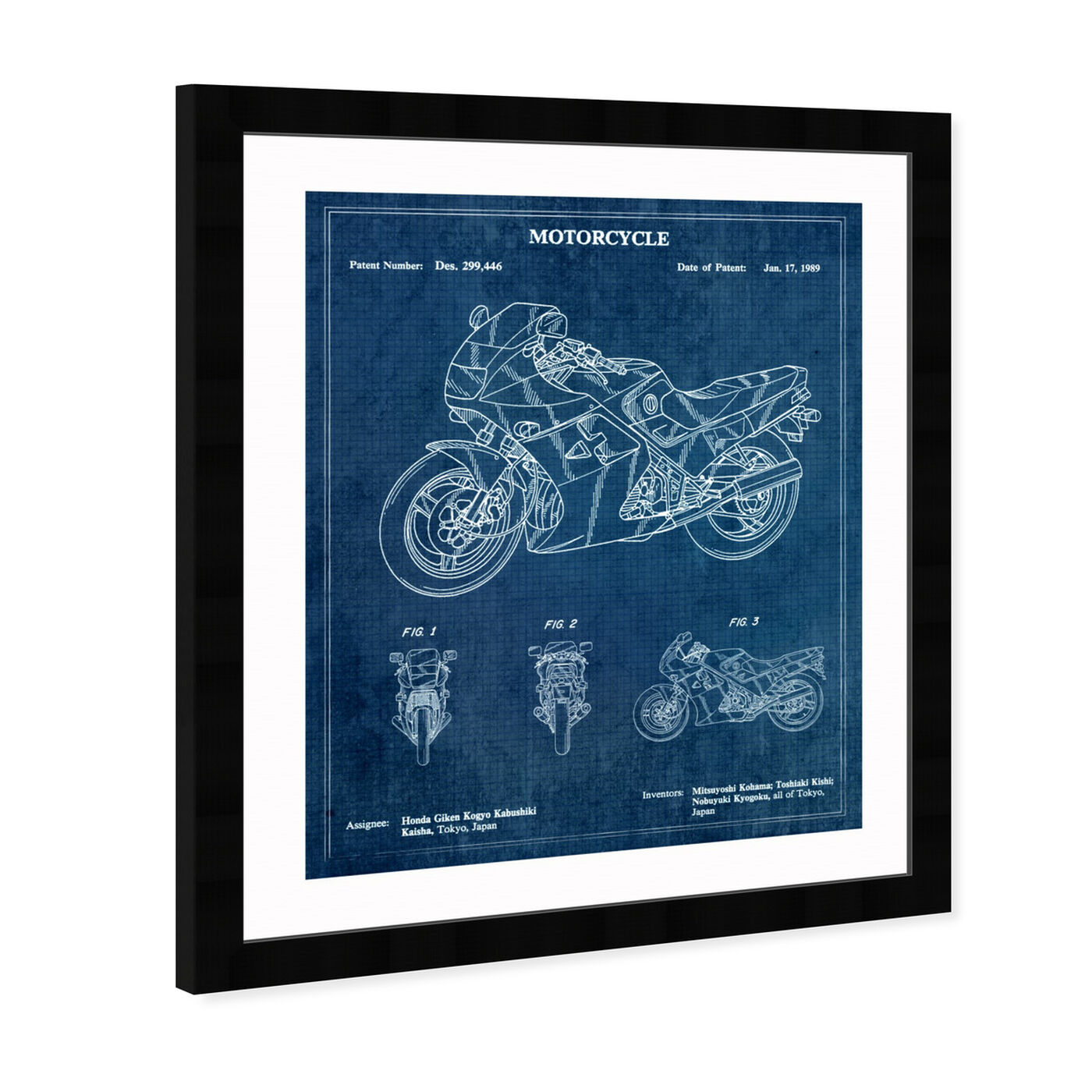 Angled view of Motorcycle 1989 featuring transportation and motorcycles art.