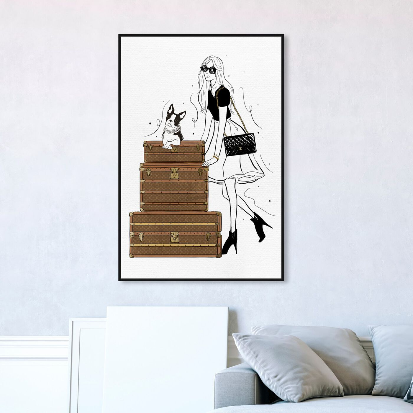 Hanging view of Traveling in Style featuring fashion and glam and travel essentials art.