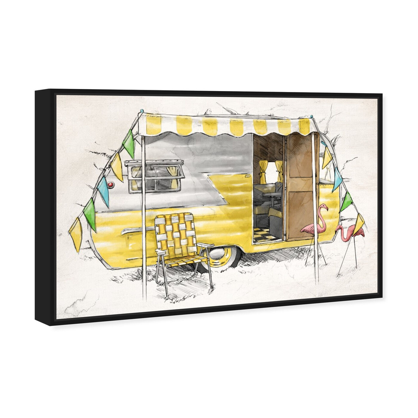 Angled view of Yellow Camper featuring entertainment and hobbies and camping art.