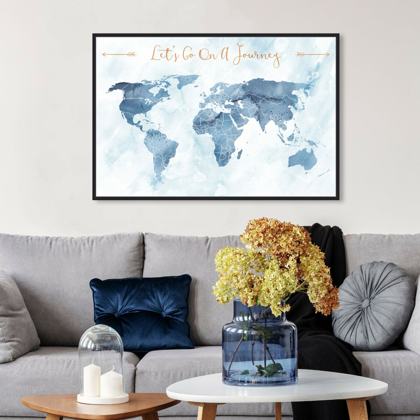 Hanging view of Lets Go On A Journey featuring maps and flags and world maps art.