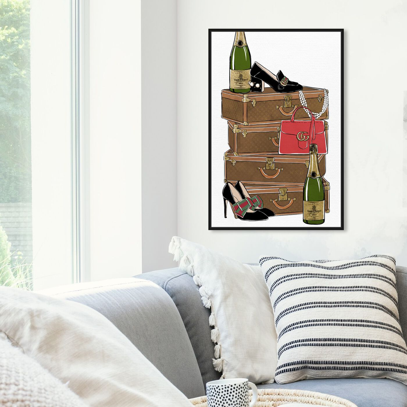 Hanging view of Traveling Party featuring fashion and glam and travel essentials art.