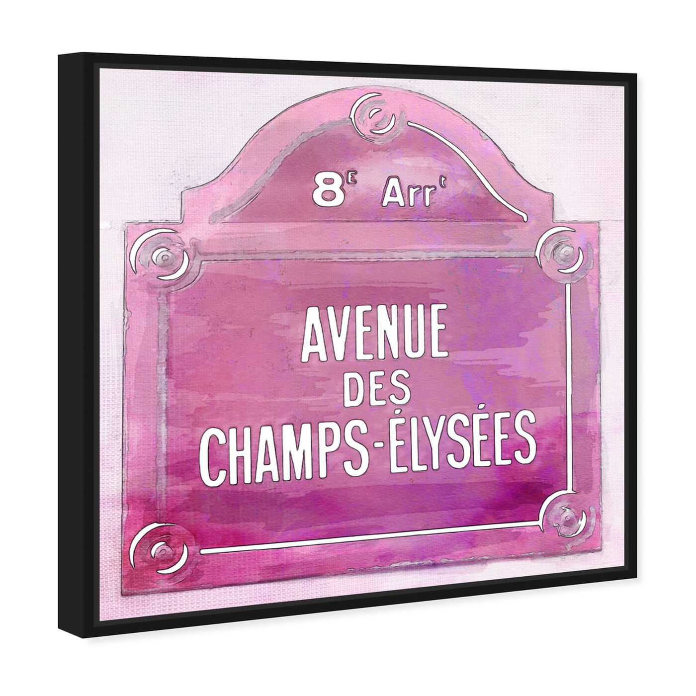 Angled view of Avenue Des Champs Elysees Pink featuring cities and skylines and european cities art.