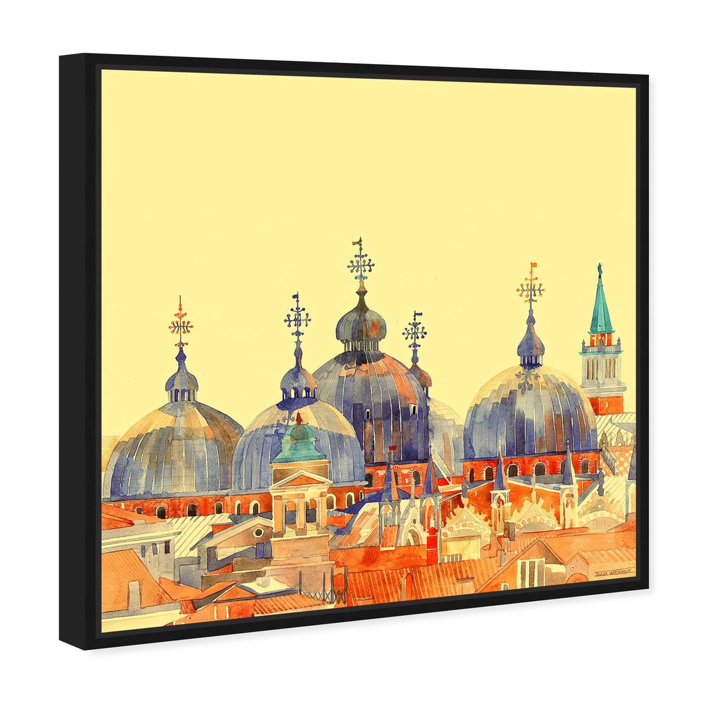 Angled view of Maja Wronska - Rooftop City Scape featuring cities and skylines and world cities art.
