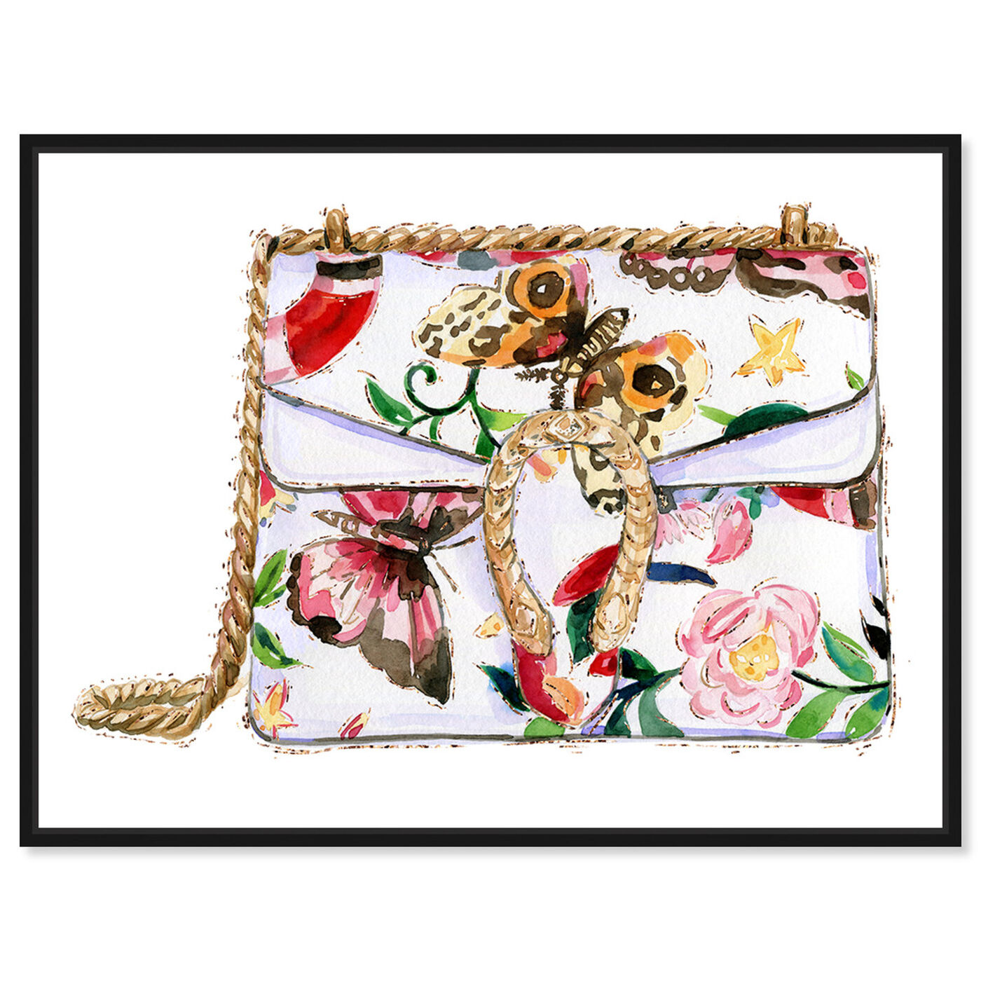 Front view of Butterfly Floral Bag featuring fashion and glam and handbags art.