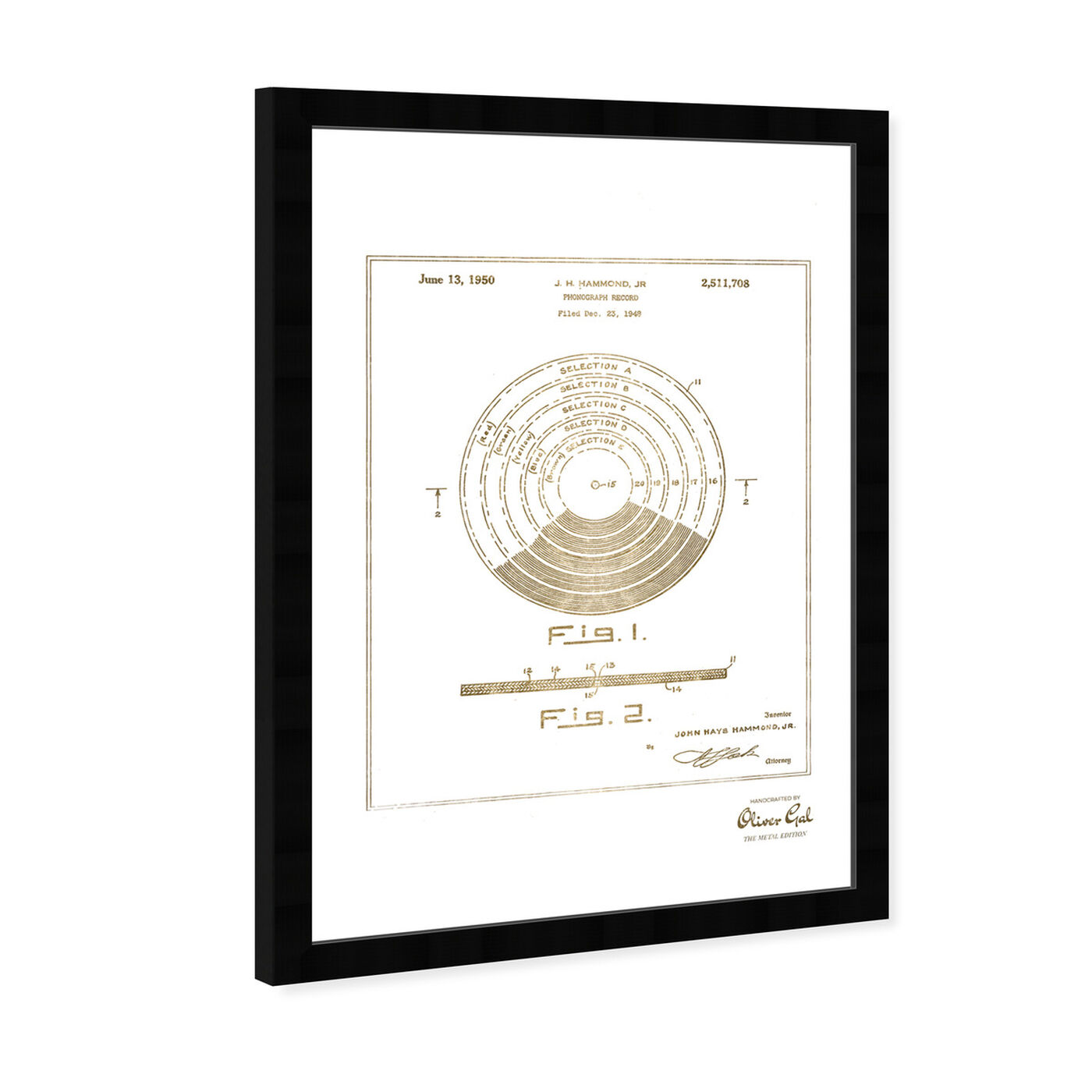 Angled view of Vinyl Record 1948 II Gold featuring music and dance and vinyl records art.