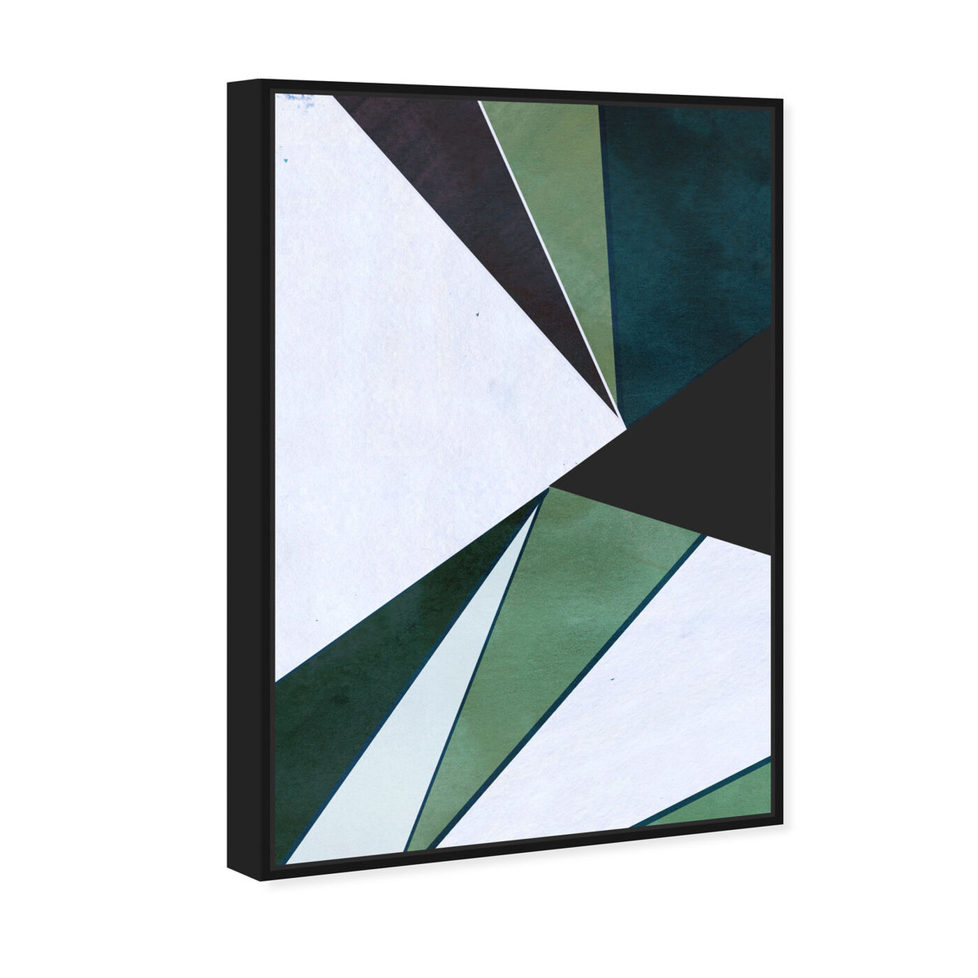 Angled view of Opium Duo featuring abstract and geometric art.