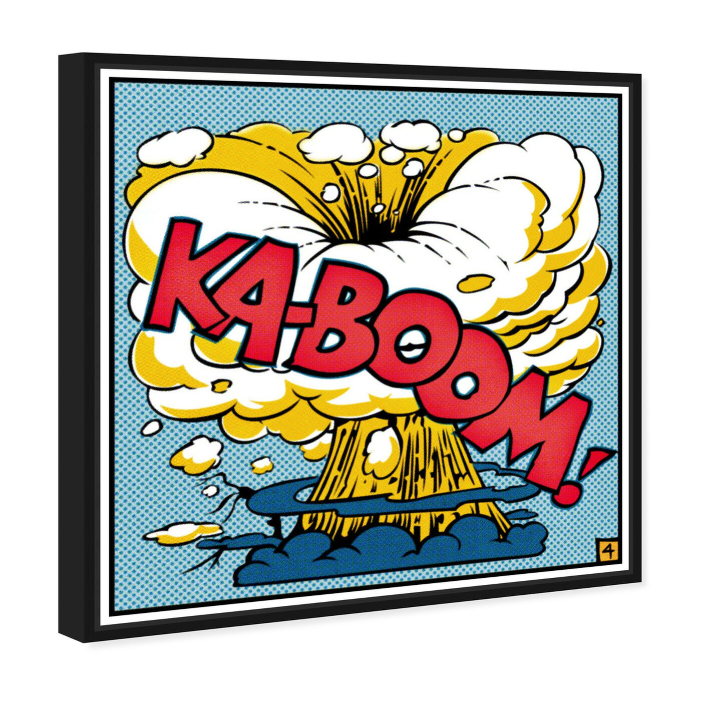 Angled view of Ka-Boom featuring advertising and comics art.