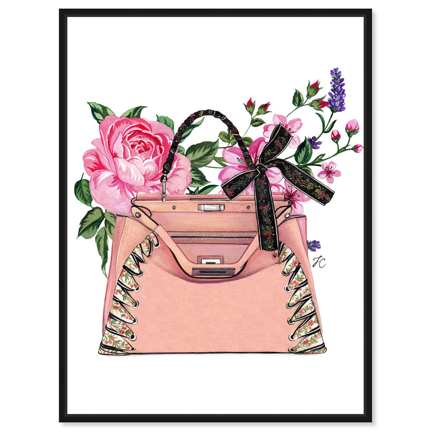 Front view of Doll Memories - Pink roses featuring fashion and glam and handbags art.