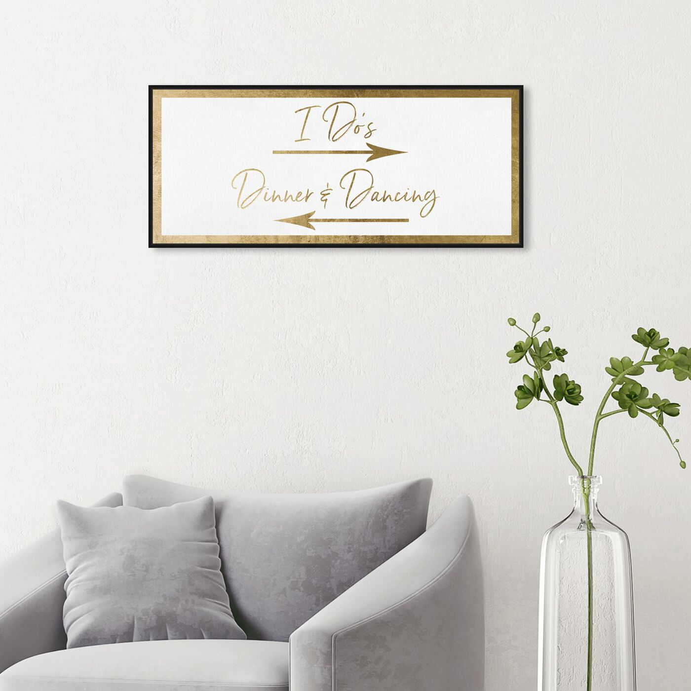 Hanging view of Dinner and Dancing Gold featuring typography and quotes and love quotes and sayings art.