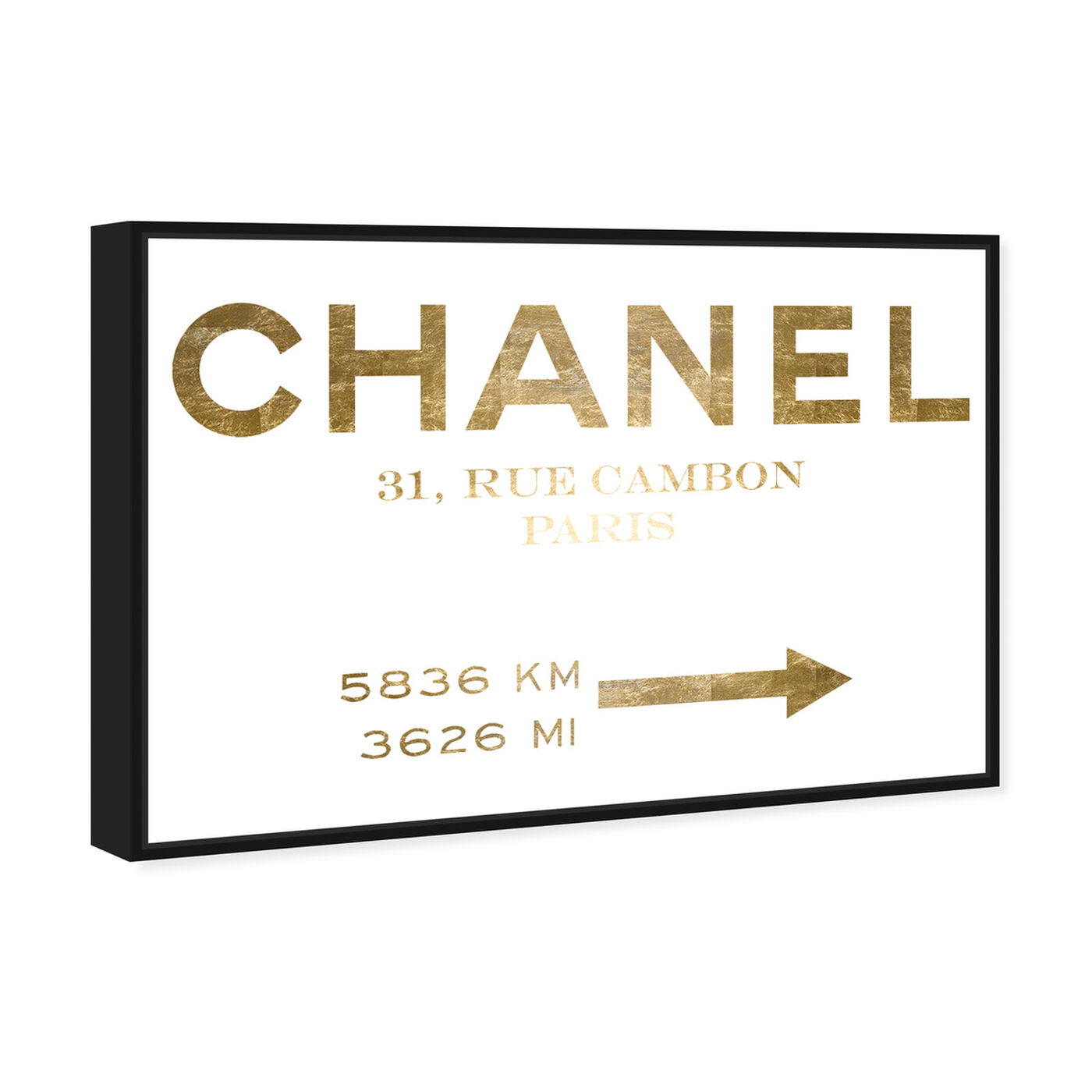 Angled view of Couture Road Sign Minimalist Gold Foil featuring fashion and glam and road signs art.