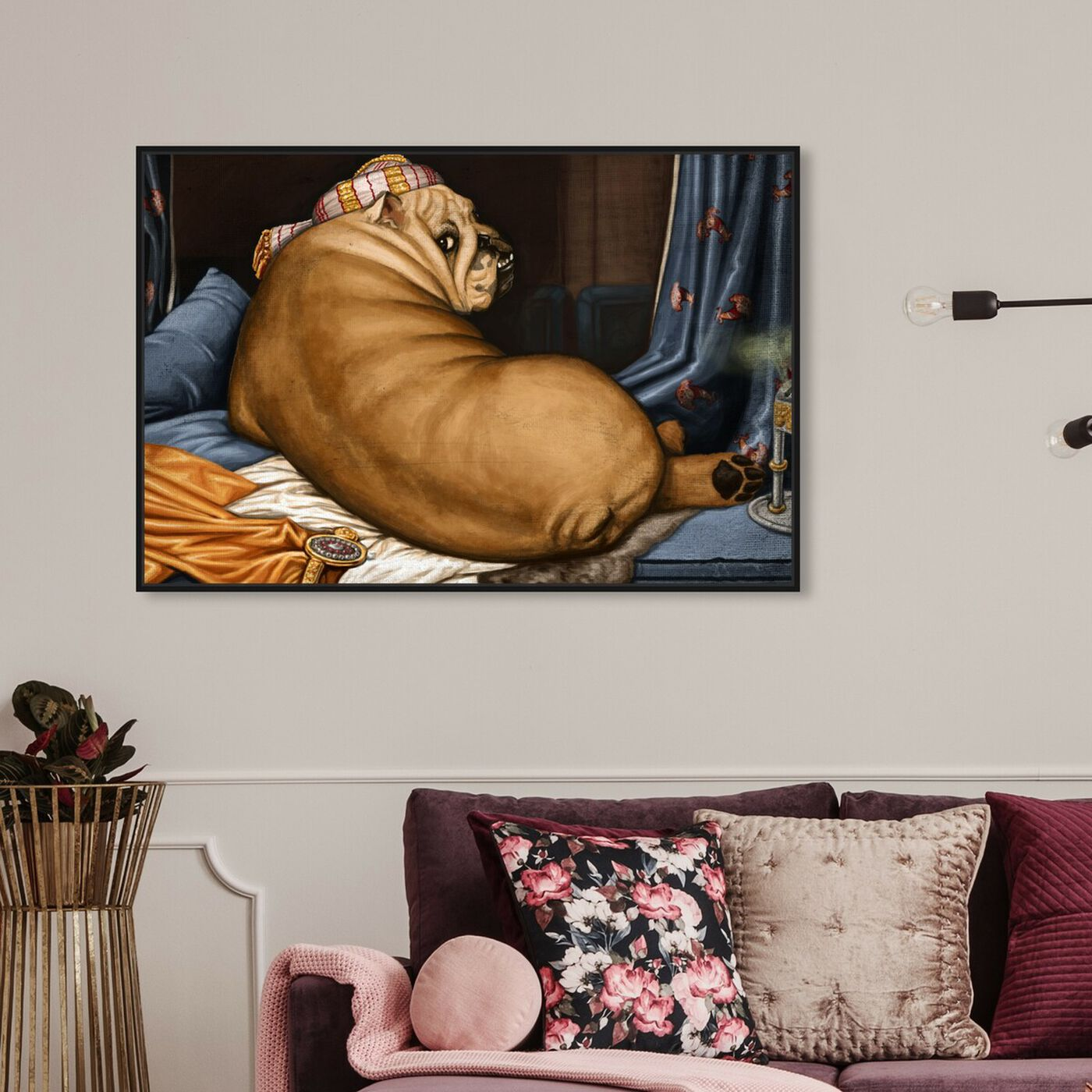 Hanging view of Grande Bulldog-alisque By Carson Kressley featuring classic and figurative and classic art.