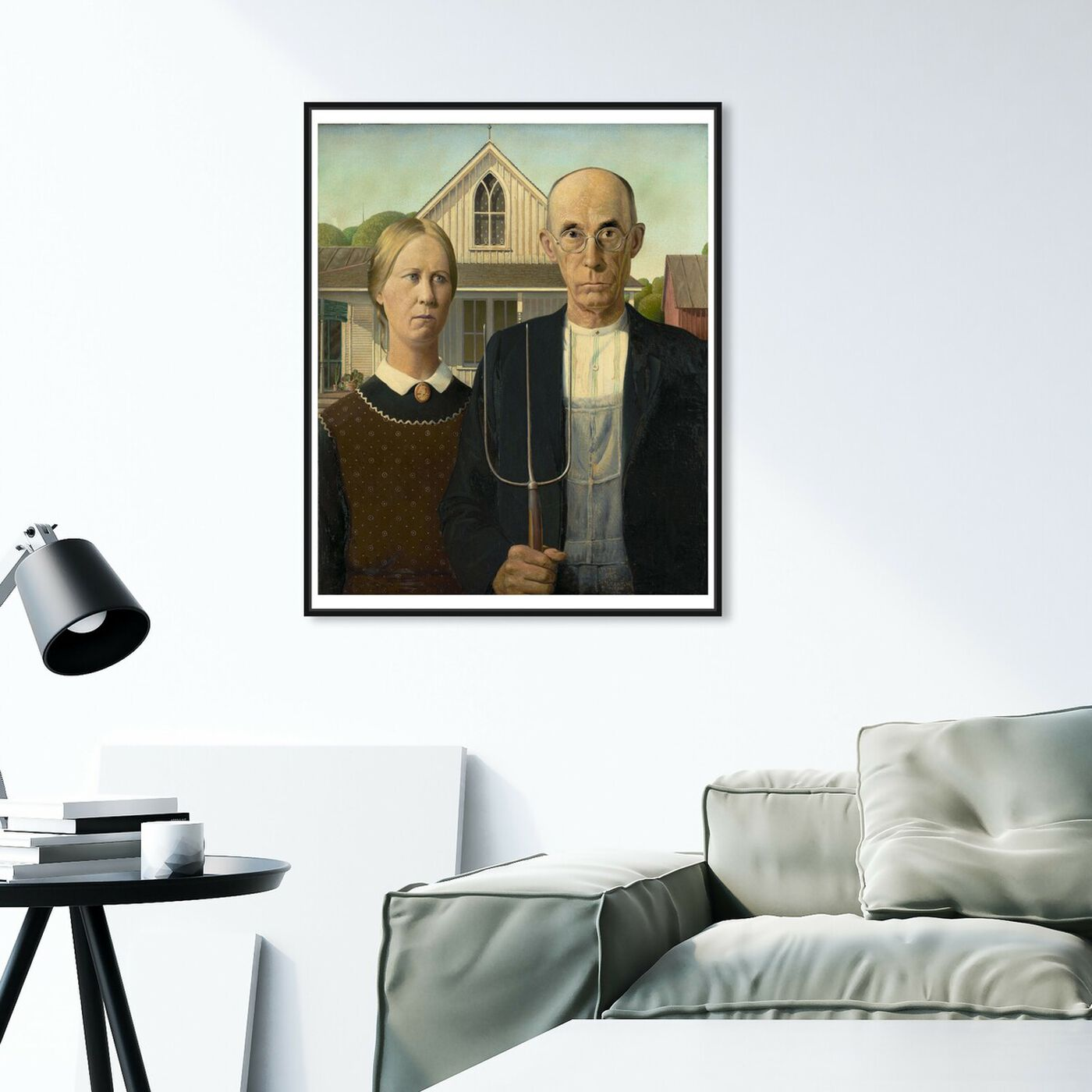Hanging view of Wood - American Gothic featuring classic and figurative and renaissance art.