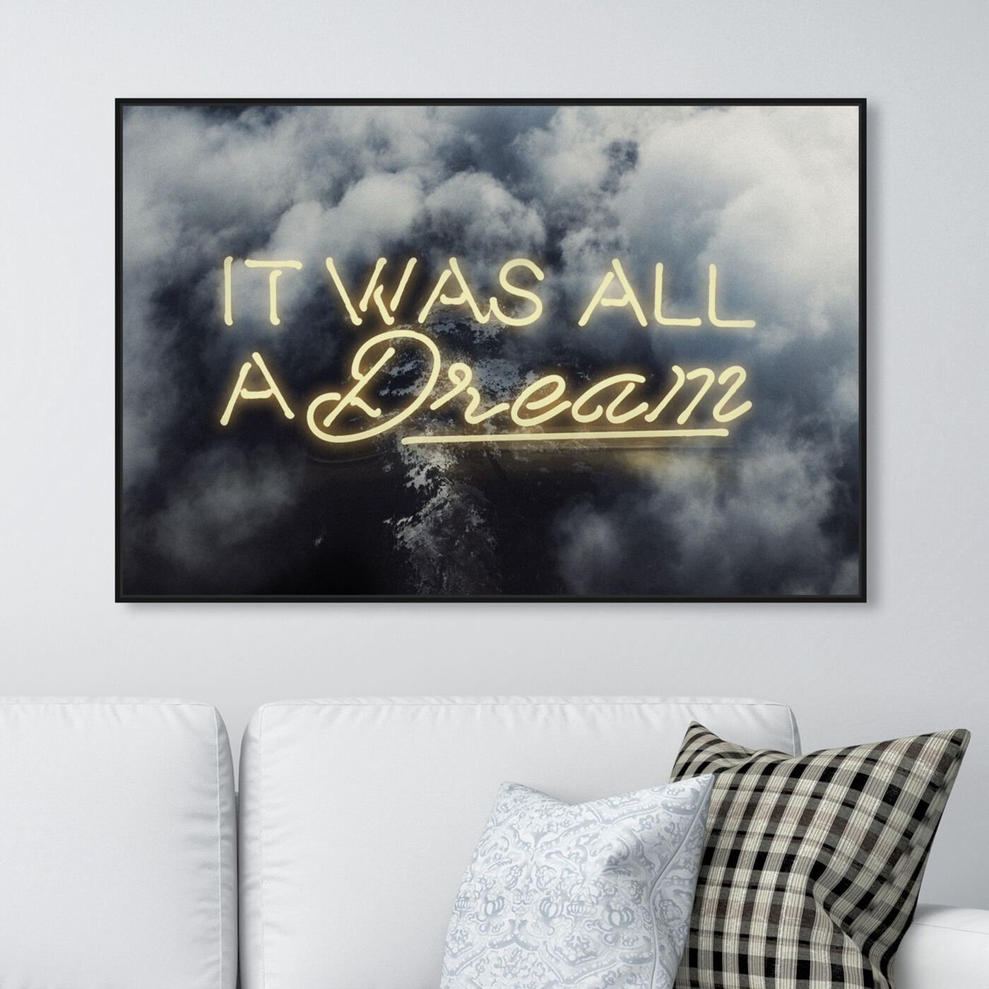 Hanging view of IT WAS ALL A DREAM - YELLOW featuring typography and quotes and inspirational quotes and sayings art.