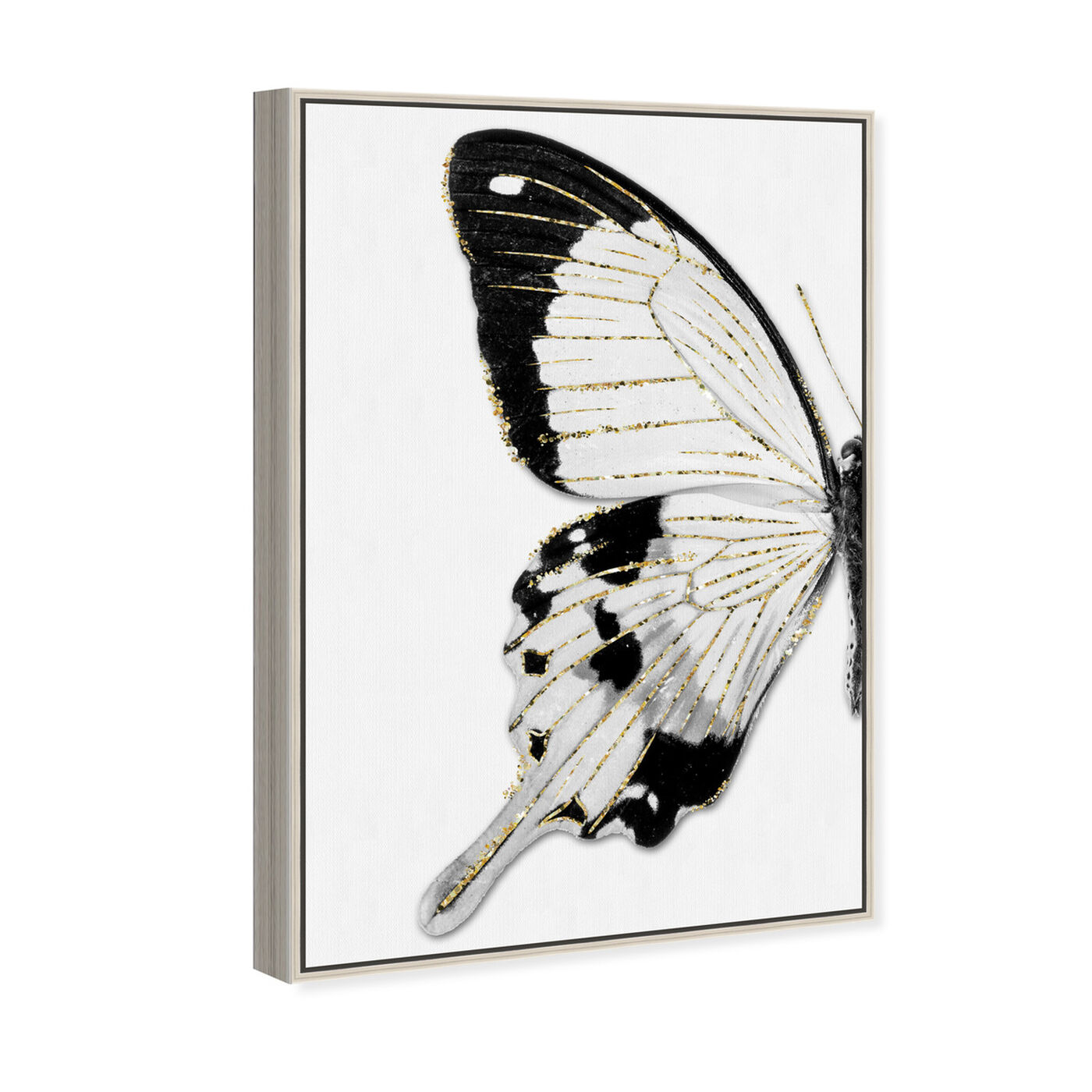 Angled view of Monochrome Glitter Butterfly II featuring animals and insects art.