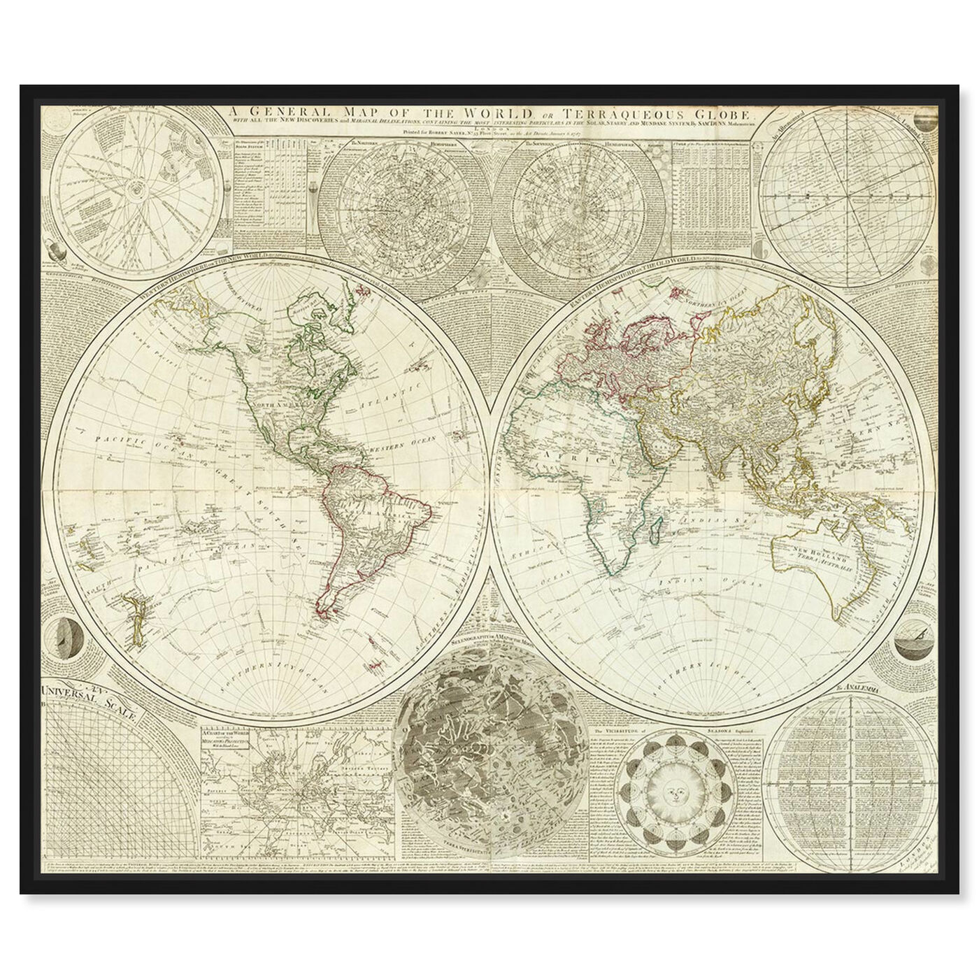 Front view of Terraqueous Globe Map 1787 featuring maps and flags and world maps art.