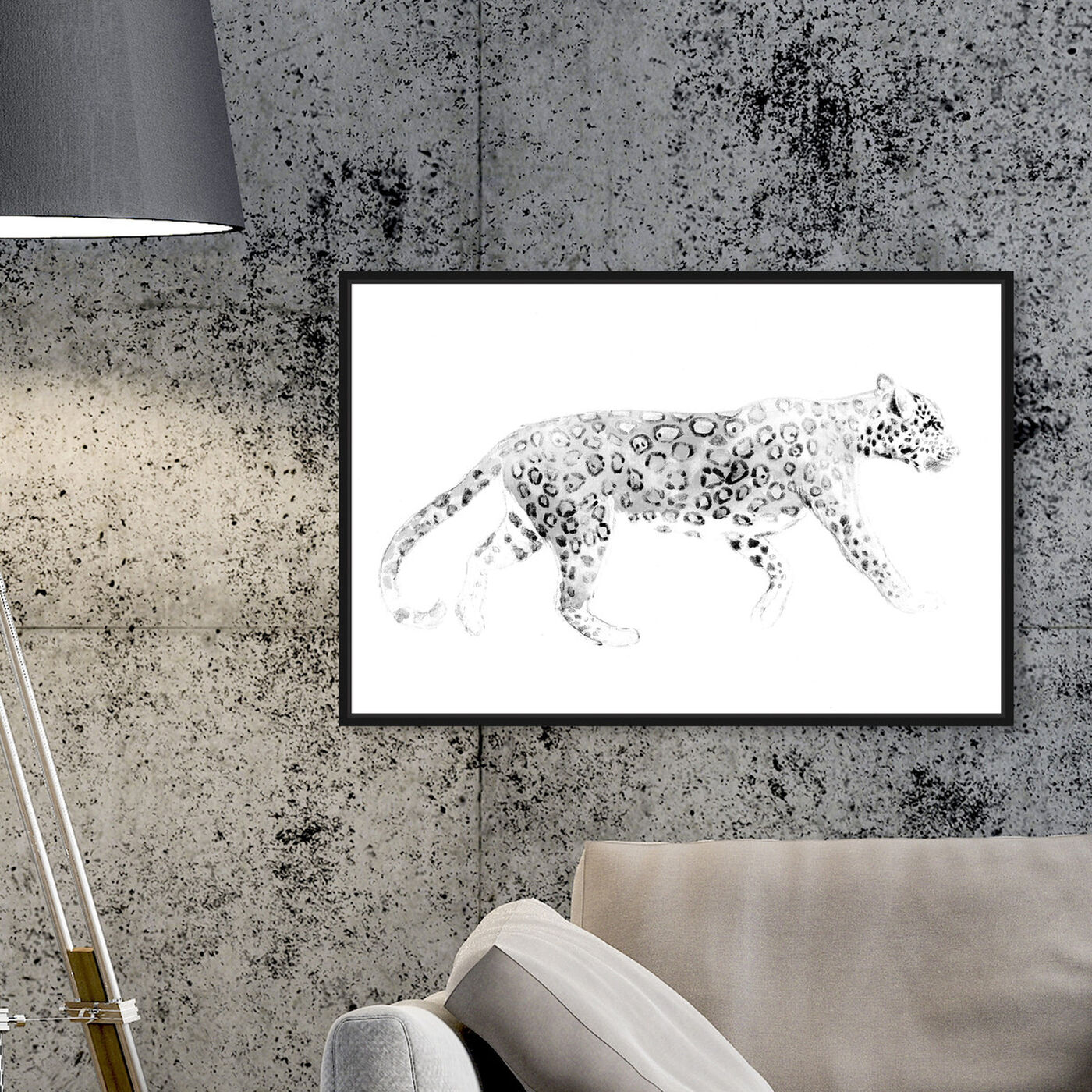 Hanging view of Wild Cat Blanc featuring animals and felines art.