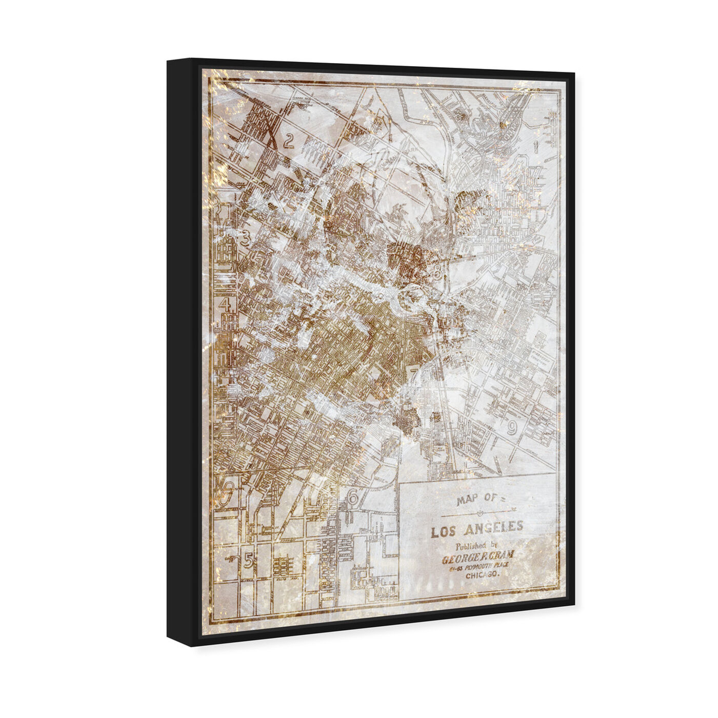 Angled view of Dusty Gold Los Angeles Map featuring maps and flags and us cities flags art.