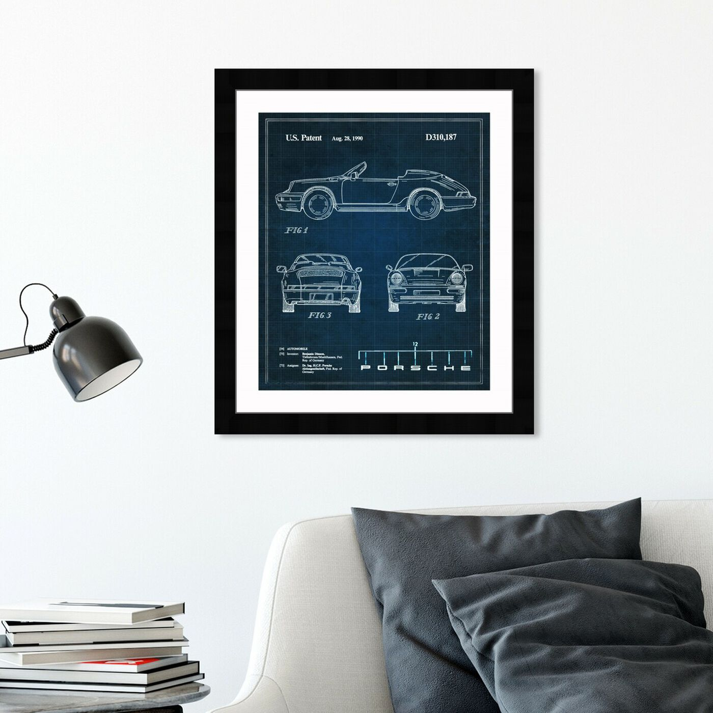 Hanging view of Porsche 911, 1990 II featuring transportation and automobiles art.
