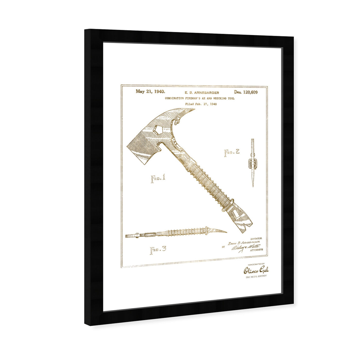 Angled view of Firemans Ax 1940 Gold featuring people and portraits and professions art.
