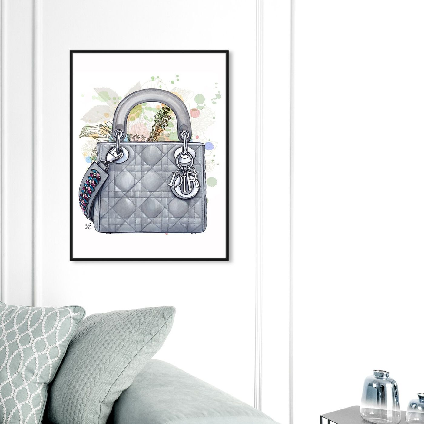 Hanging view of Doll Memories - Grey Shade featuring fashion and glam and handbags art.
