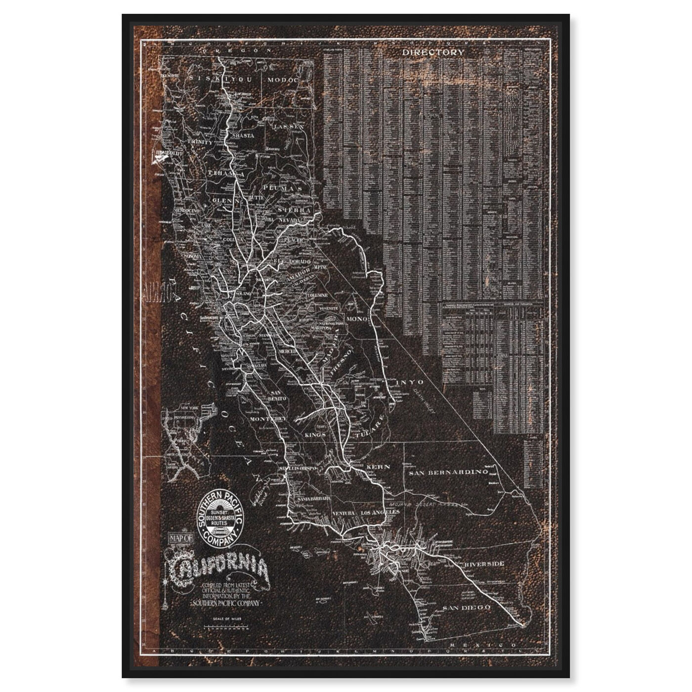 Front view of Southern Pacific California Roadrail map 1901 featuring maps and flags and us states maps art.