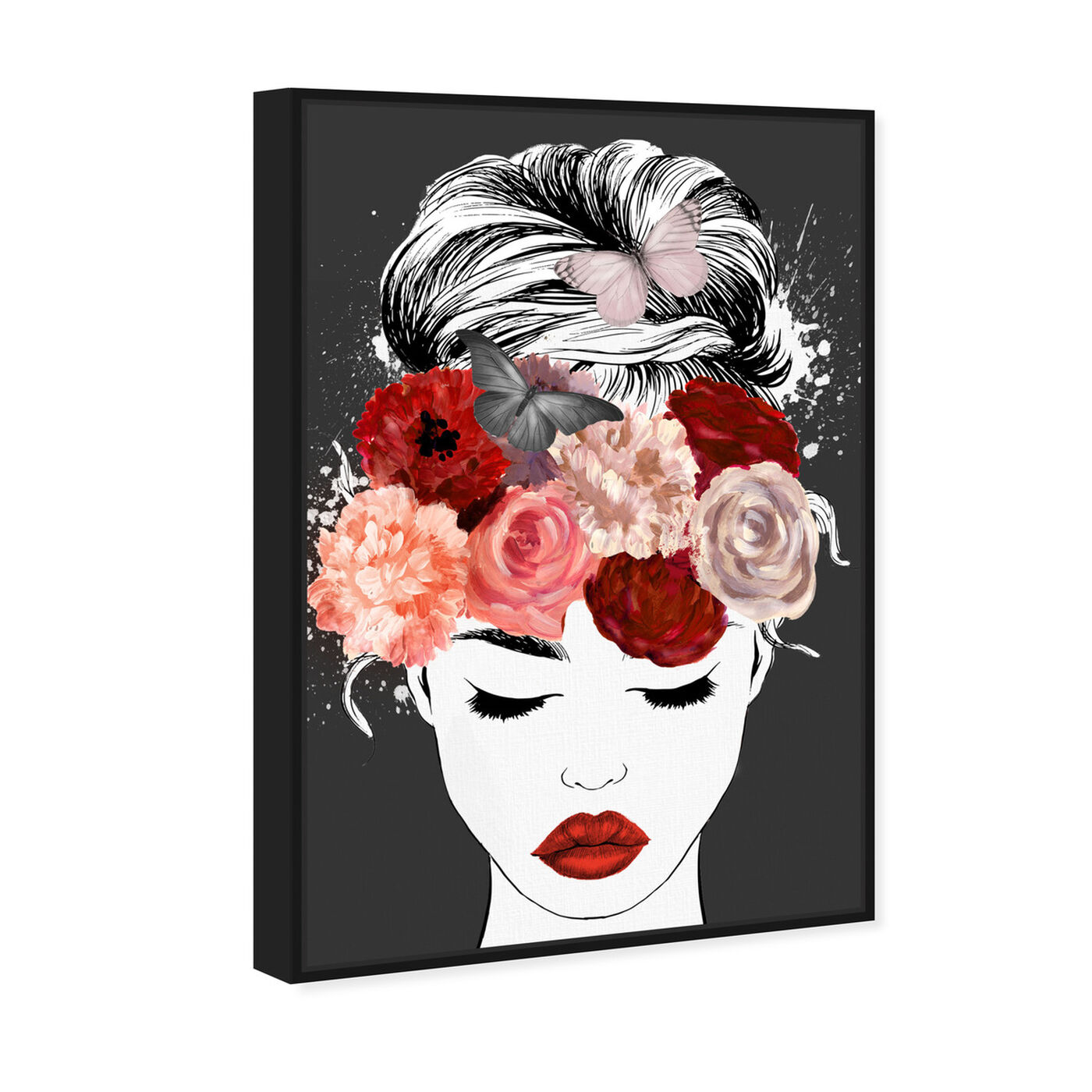Angled view of Butterflies in My Head Red featuring animals and insects art.