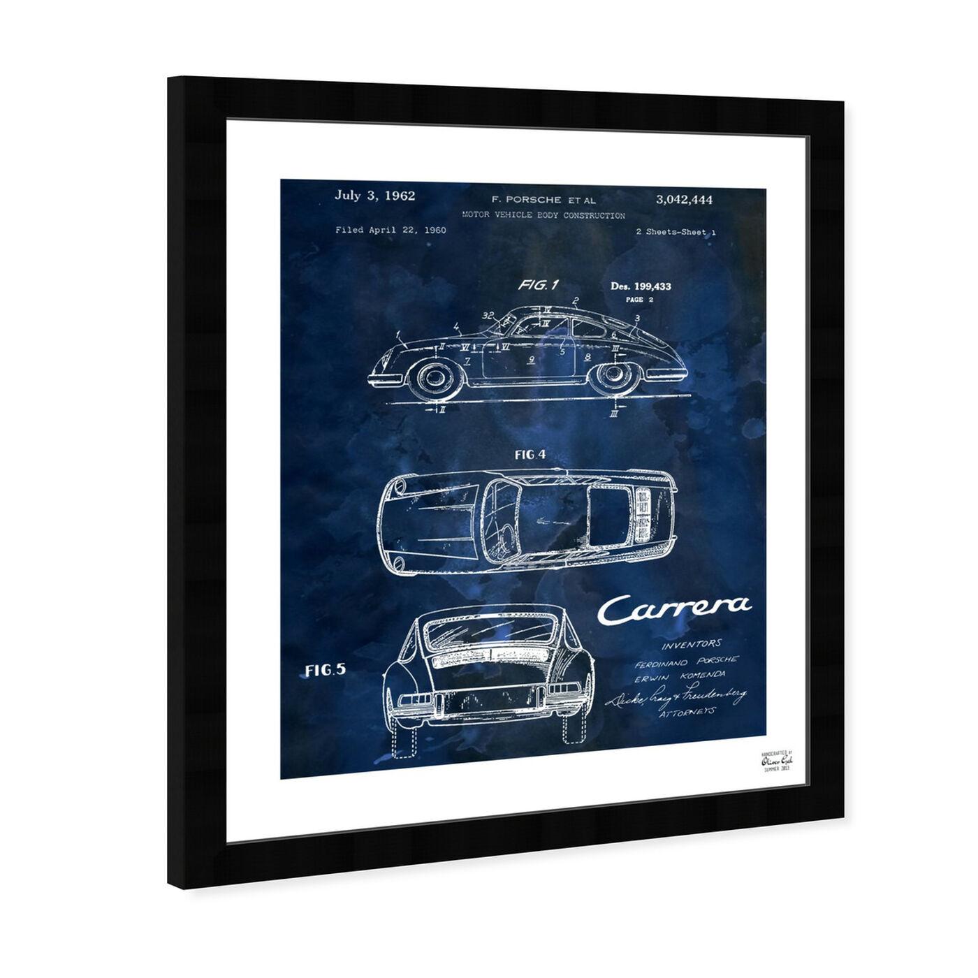 Angled view of Carrera Porsche 1962 - Bleu featuring transportation and automobiles art.