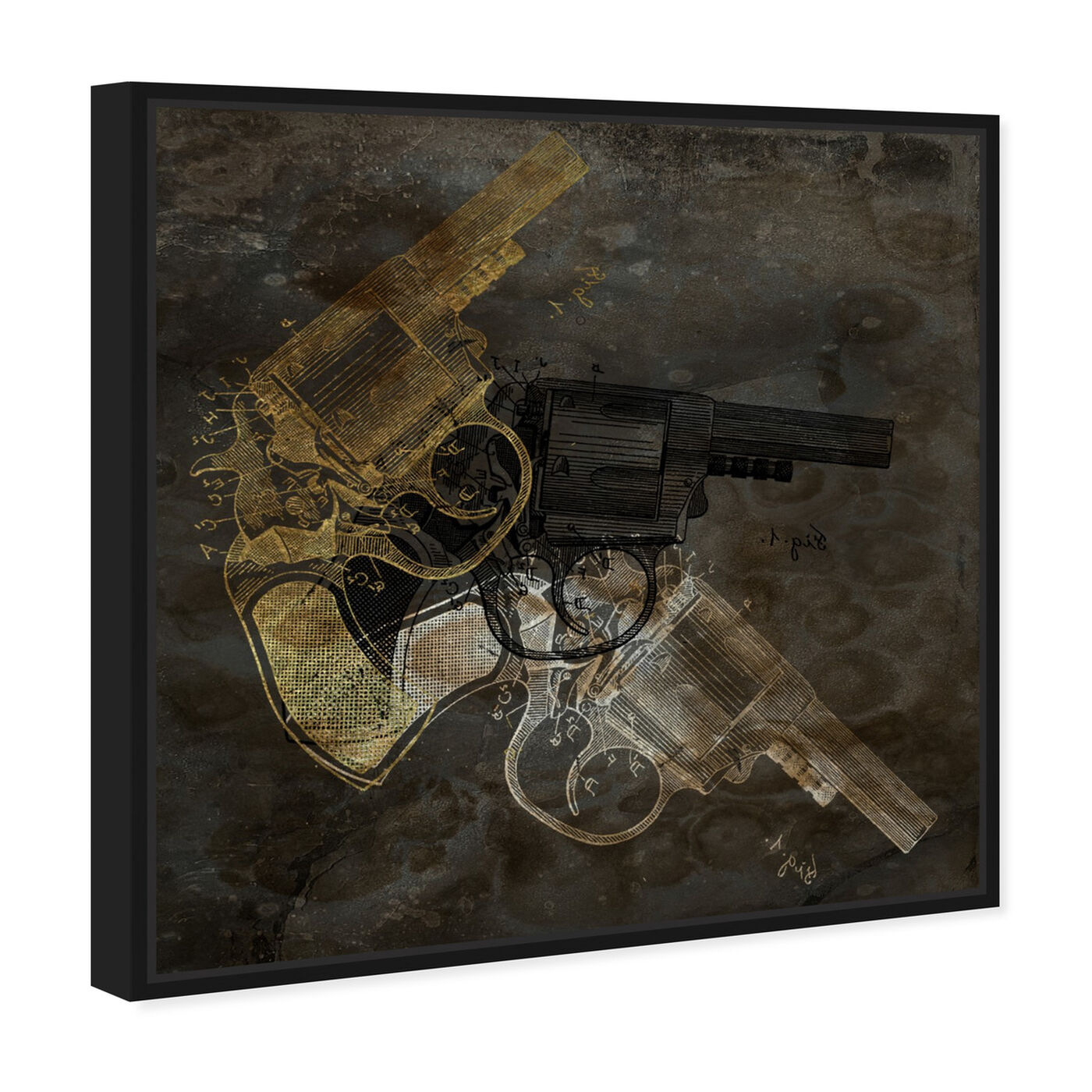 Angled view of Gold Revolver featuring entertainment and hobbies and machine guns art.