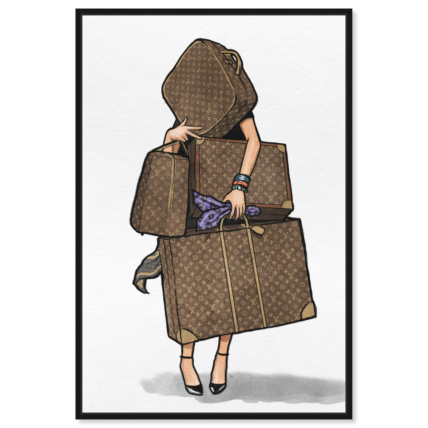 Front view of Bags, Bags, Bags- Purple featuring fashion and glam and travel essentials art.