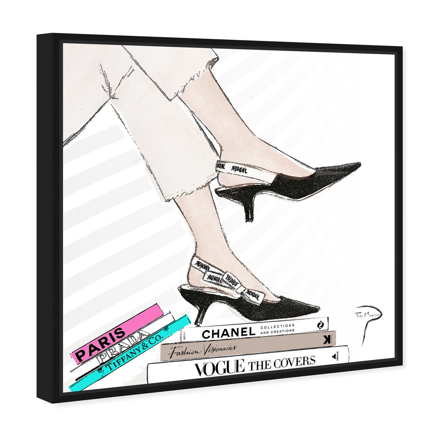 Angled view of Pily Montiel - Shoes with pink book featuring fashion and glam and shoes art.