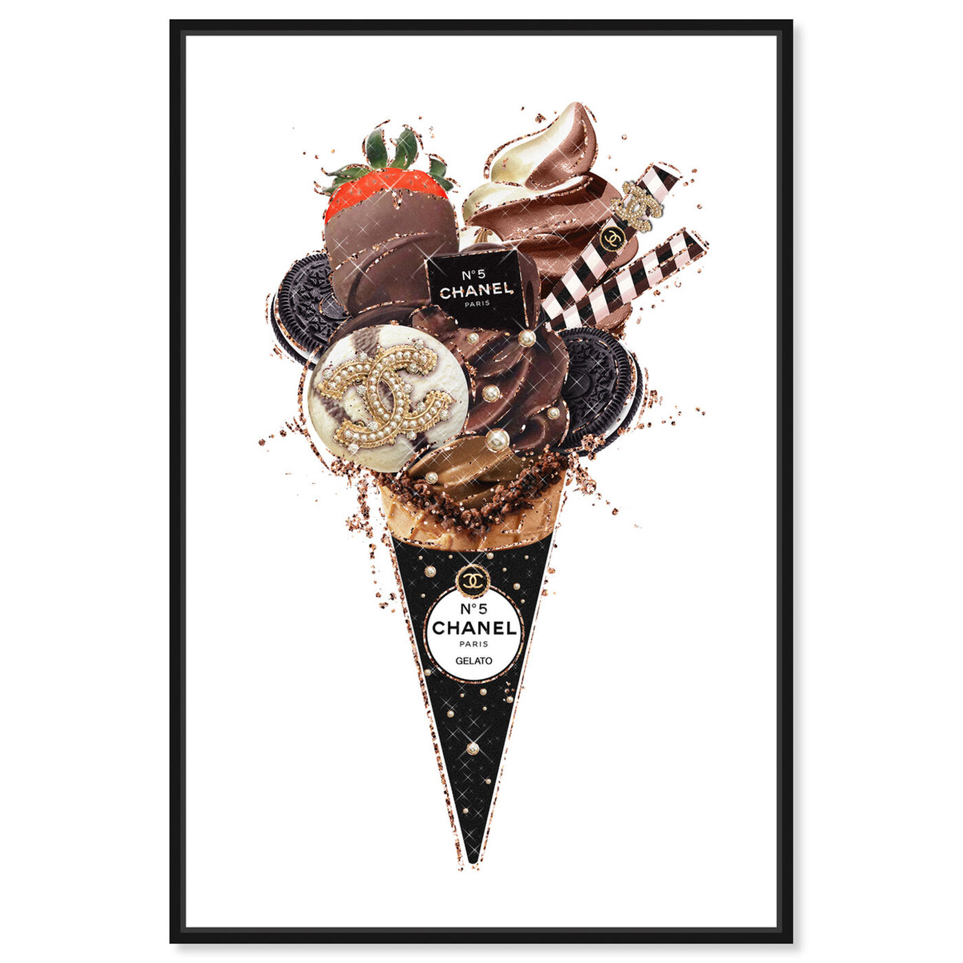 Front view of Black Oreo Gelato featuring fashion and glam and fashion lifestyle art.