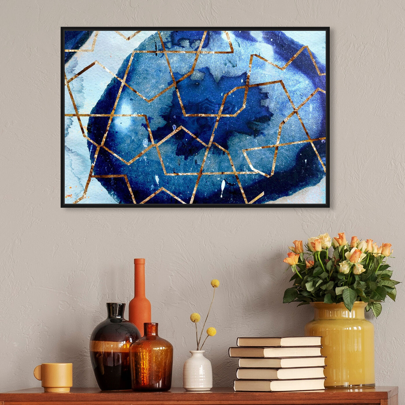 Hanging view of Raw Earth Blue featuring abstract and paint art.