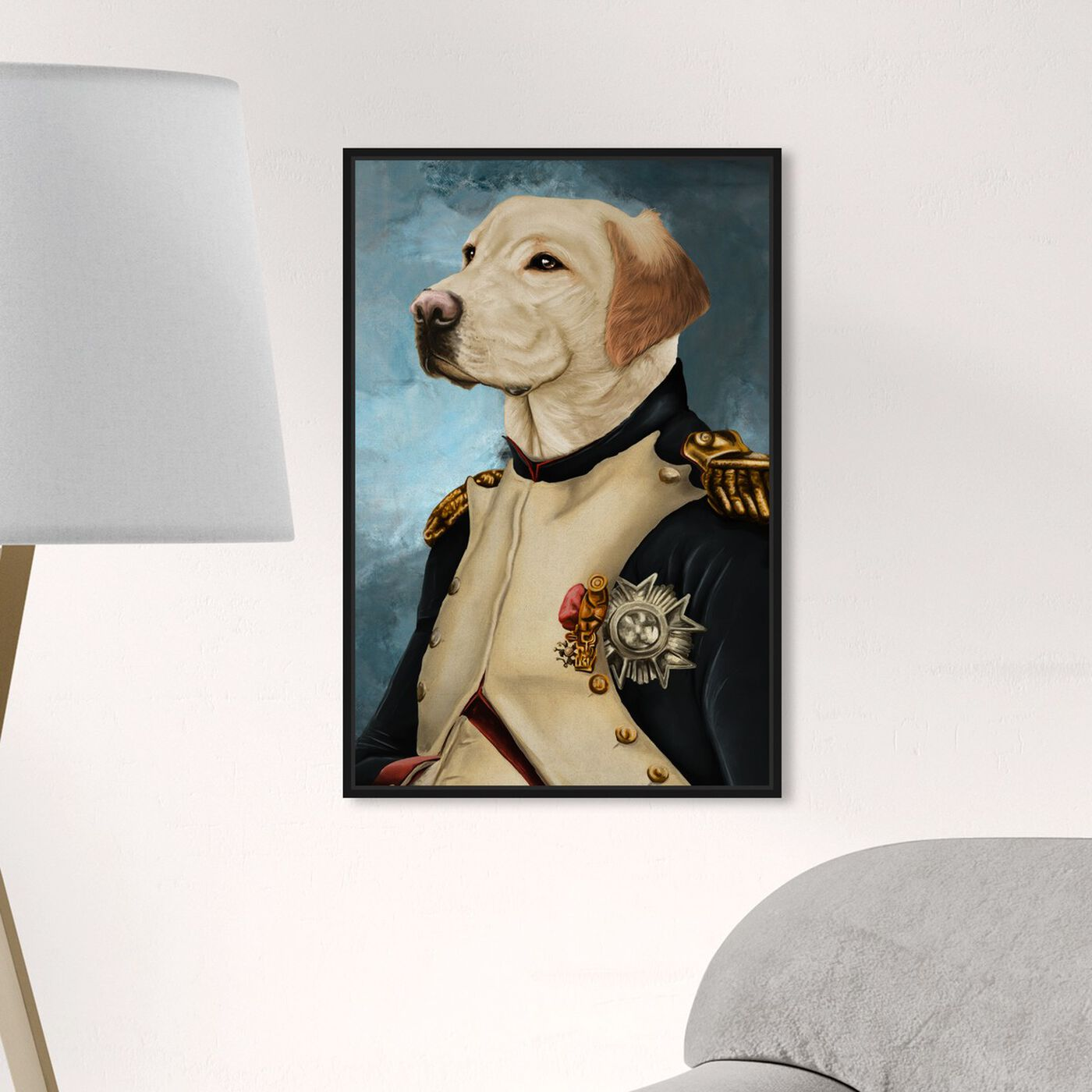 Hanging view of Gentleman Lab featuring animals and dogs and puppies art.