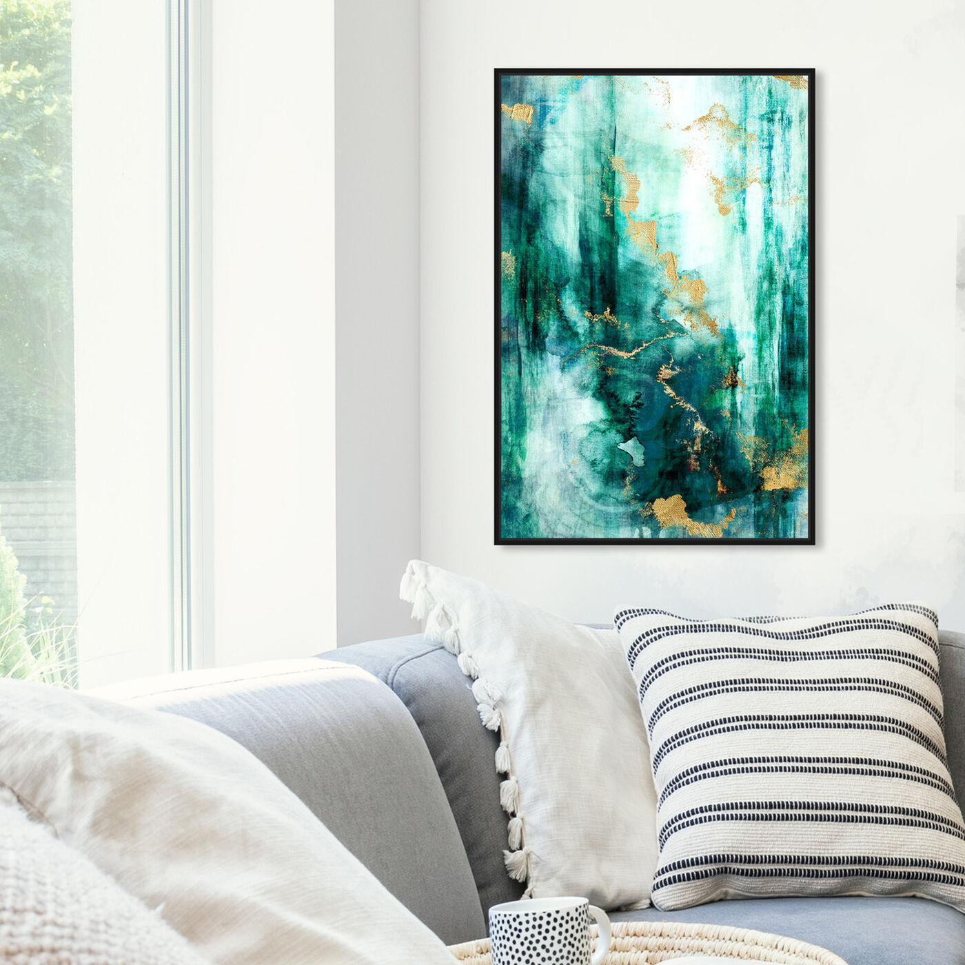 Hanging view of Fluorite Aura featuring abstract and paint art.