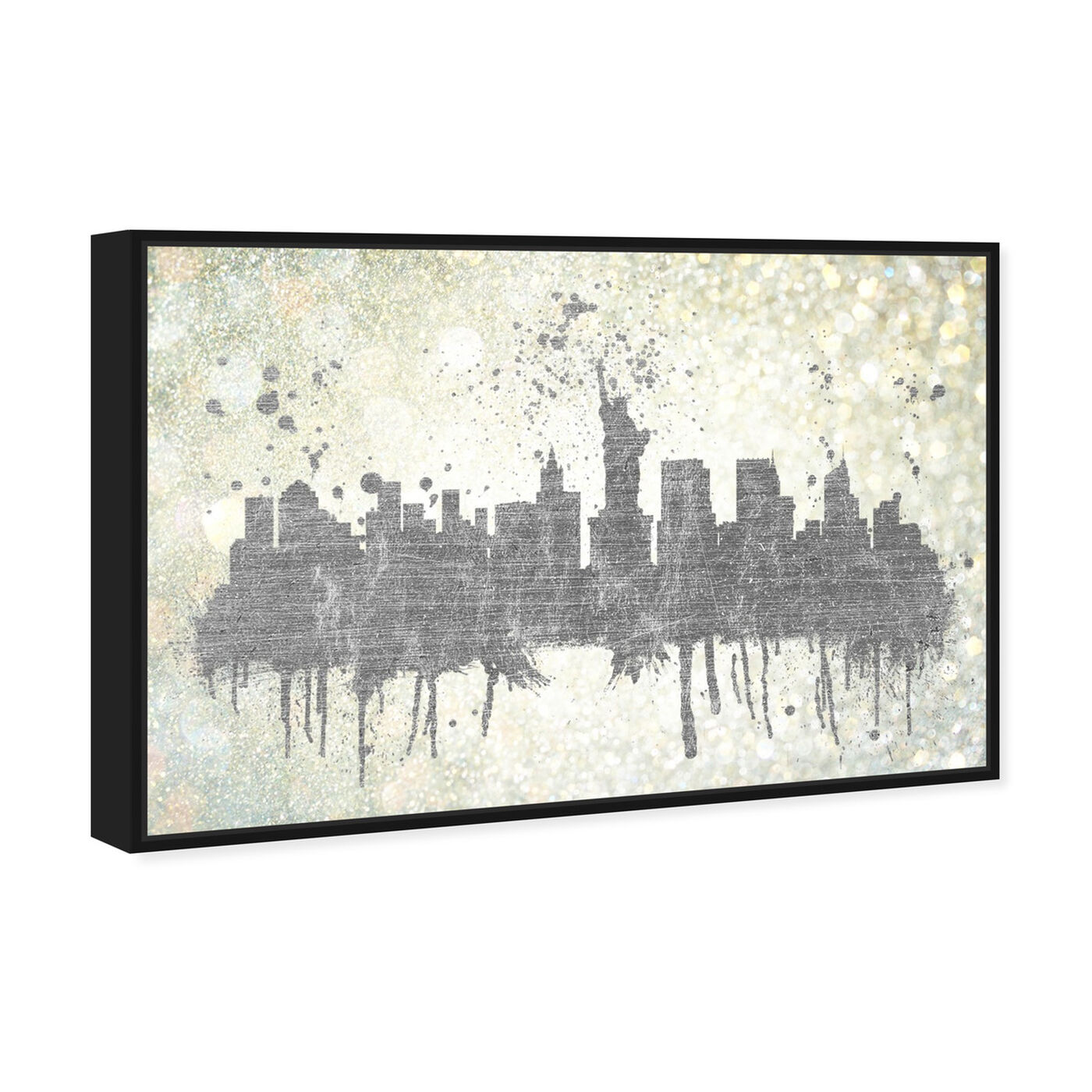 Angled view of Silver Rain on NYC featuring cities and skylines and united states cities art.