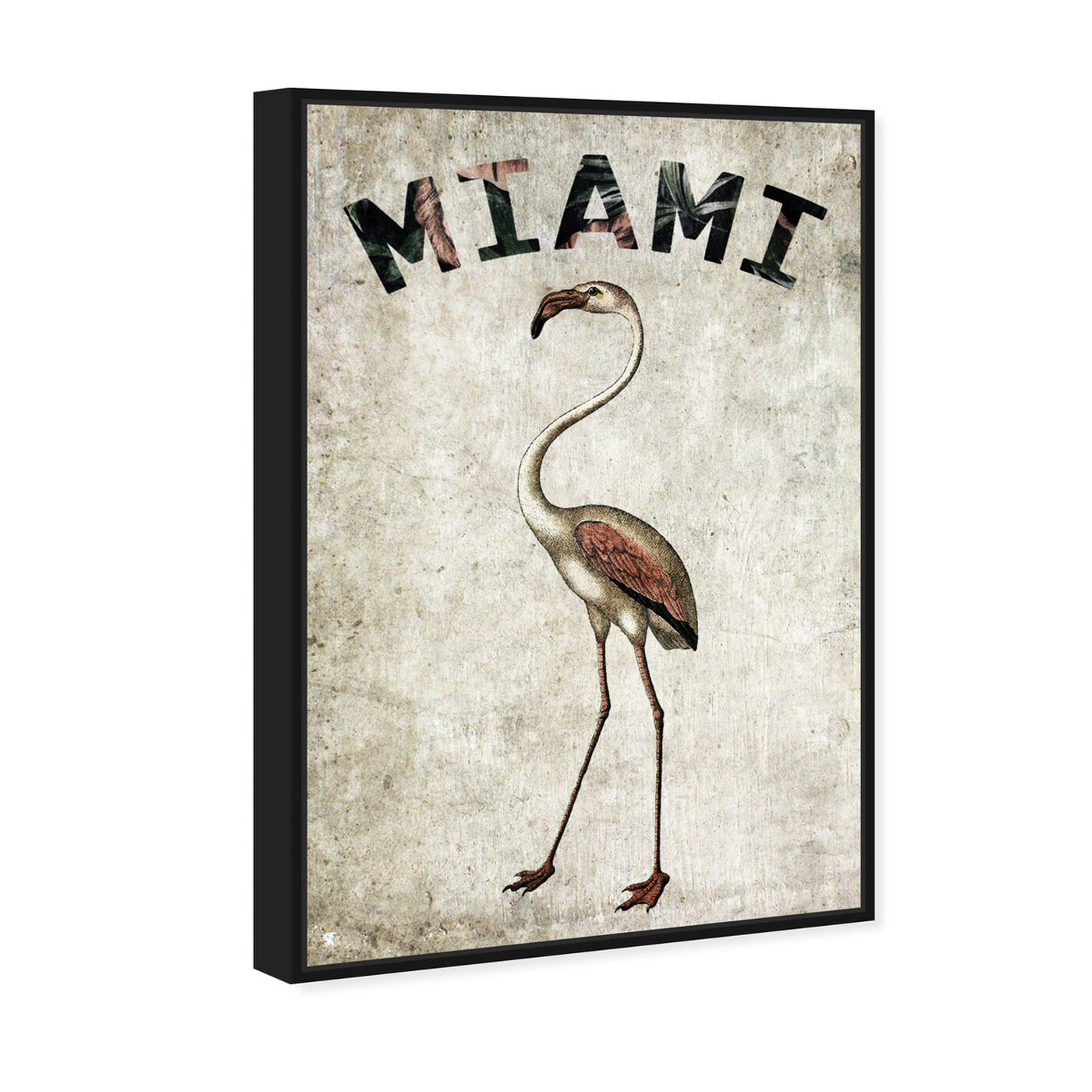 Angled view of Miamian Flamingo featuring cities and skylines and united states cities art.