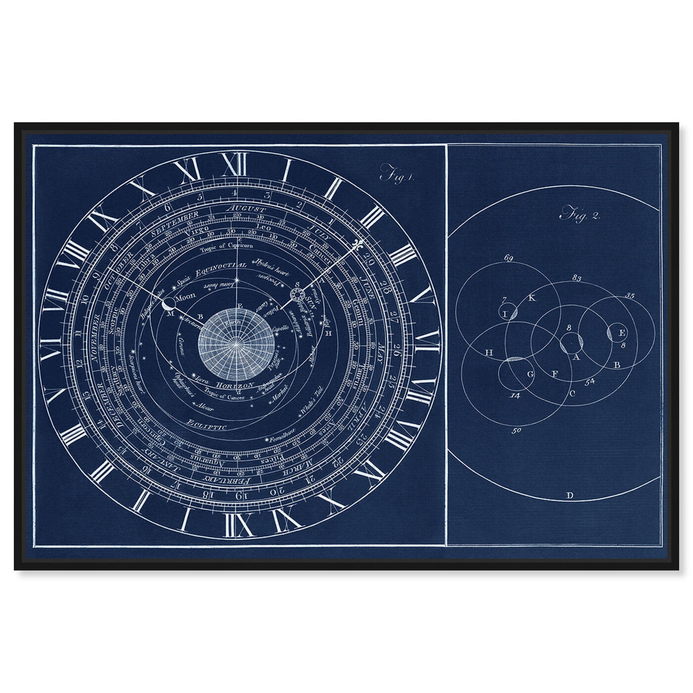Front view of Astronomical Clock featuring astronomy and space and constellations art.