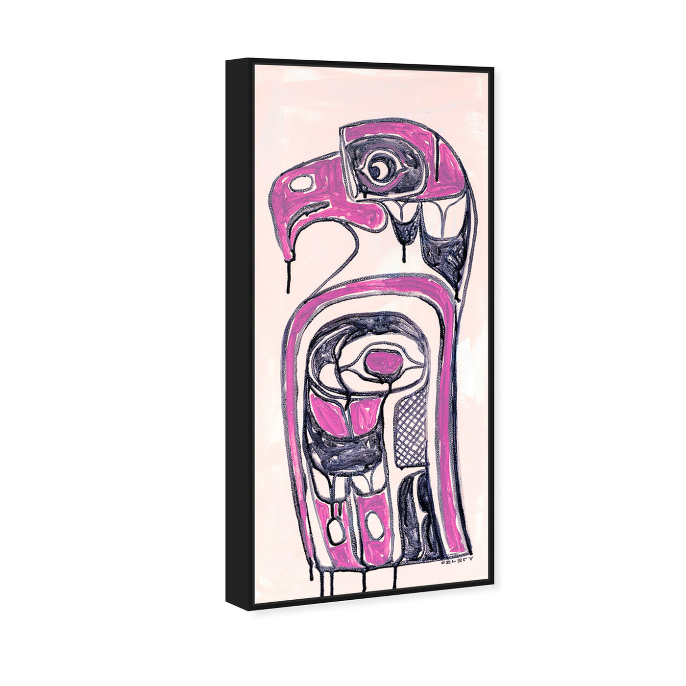 Angled view of Celery Jones - Ornate Totem Magenta featuring symbols and objects and mystic symbols art.