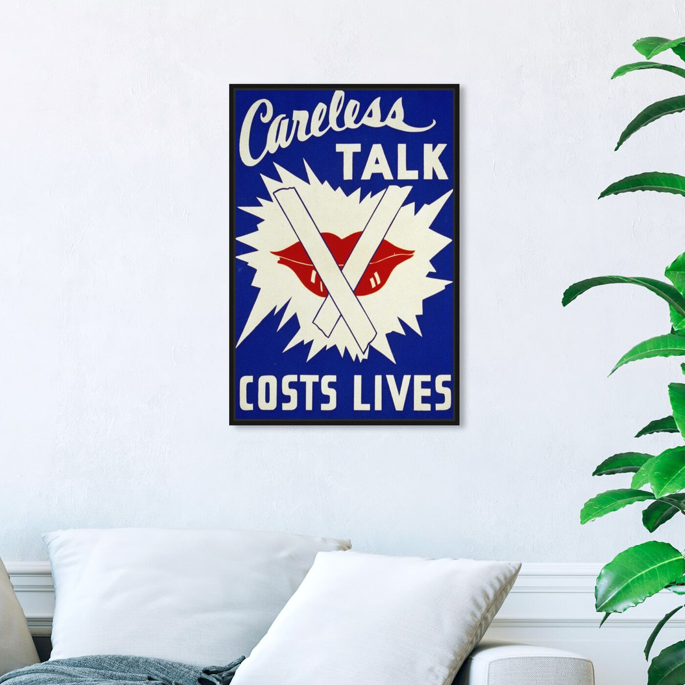 Hanging view of Careless Talk featuring advertising and posters art.