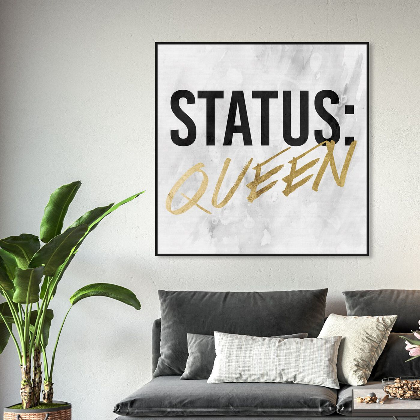 Hanging view of Status Queen Gold featuring typography and quotes and empowered women quotes and sayings art.
